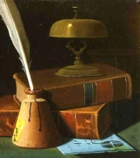 Still-Life-With-Inkwell,-Quill-And-Books